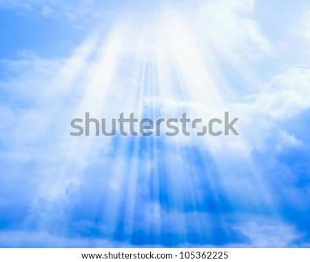 Blue sky with clouds and sun may be used as background