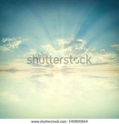 blue sky with clouds and sun...