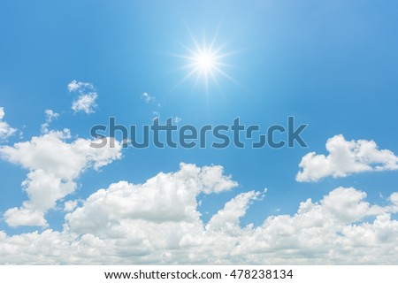 Blue sky with clouds and sun reflection. looking up view #478238134