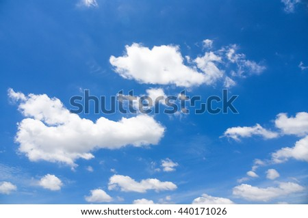 blue sky with clouds - heavenly bright climate summer peace weather daylight white #440171026