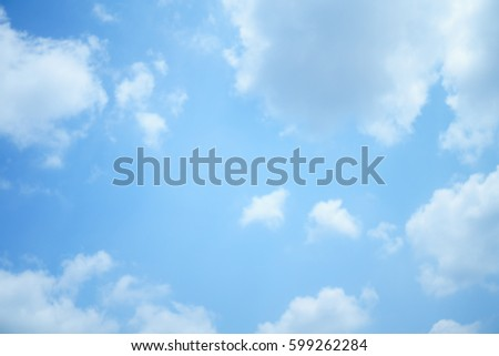 Blue sky with clouds on sunshine day. #599262284