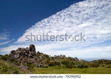 Blue sky with clouds over a Portuguese landscape