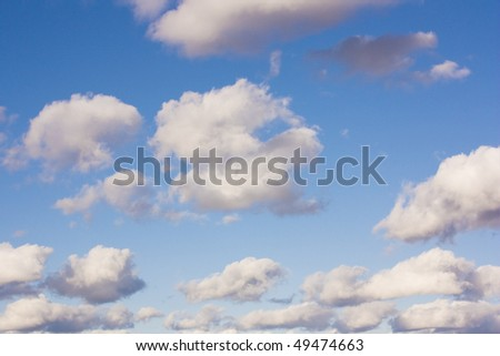 blue sky with grey clouds - wonderful nature background - stock photo