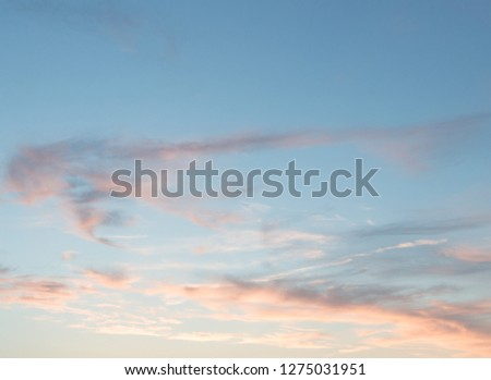 Blue Sky with Pink and Orange wispy clouds aesthetic tumblr background wallpaper