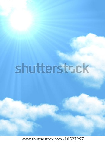 Blue sky with scattered clouds with a sun poking through casting sun rays over clouds