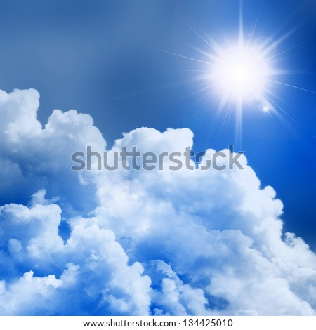 blue sky with sun and beautiful clouds #134425010