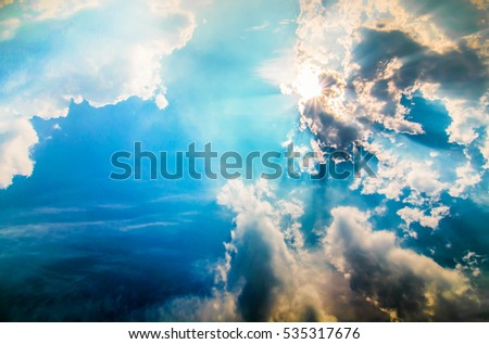 blue sky with sun and beautiful clouds  #535317676