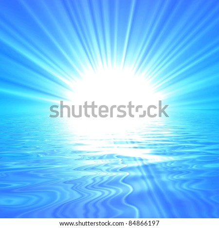 blue sky with sun and water reflection showing nature concept