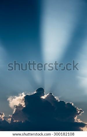 Blue Sky with Sun Rays. Sun Rays.
