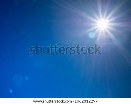 Blue sky with sun(sun flare) #1062812297