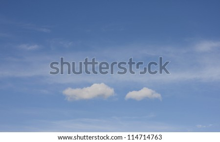 Blue sky with two clouds