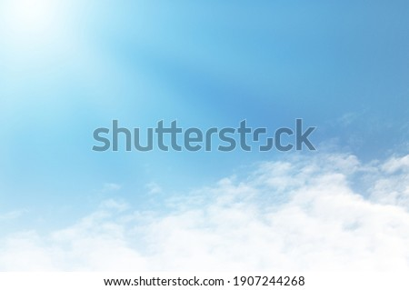 Blue sky with white cloud. The summer heaven is colorful clearing day Good weather and beautiful nature in the morning.
