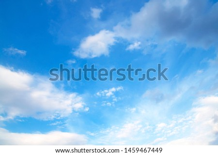 Blue sky with white clouds, bright, beautiful.