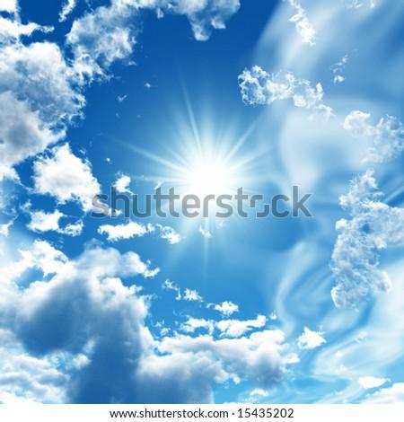 Blue sky with white clouds - digital artwork.