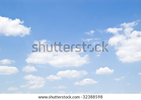 blue sky with white clouds in perspective