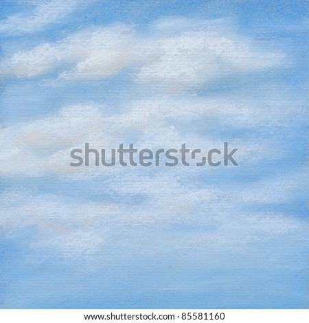 Blue sky with white clouds. Picture, pastel, hand-draw on paper