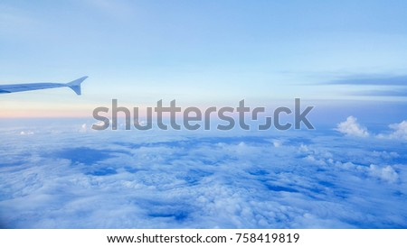 Blue sky with white cloudy that take picture from airplane