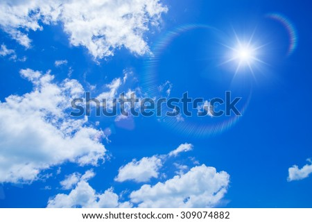 Blue sky with white could and sun. #309074882