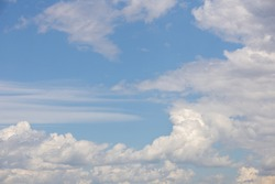 Blue sky with white fluffy clouds and stratus clouds