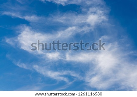 blue sky with white spread clouds in morning #1261116580