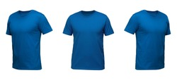 Blue sleeveless T-shirt. t-shirt front view three positions on a white background