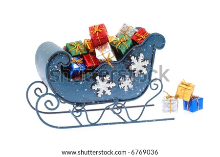 Blue sleigh filled with many colorful presents.