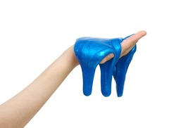 Blue slime in hand isolated on a white background.