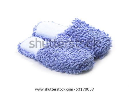 blue slippers isolated on a white background.