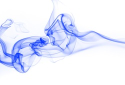 Blue smoke abstract on white background for design. blue ink water on white