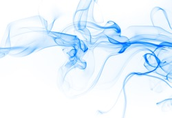 Blue smoke abstract on white background for design, Movement of ink water color