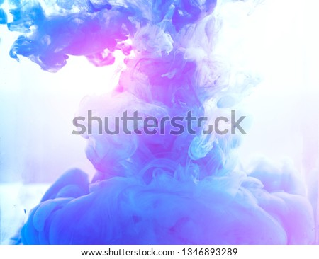 blue smoke color Motion drop in water swirling Colorful ink abstraction.Fancy Dream Cloud of ink background