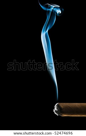Blue smoke from cigar