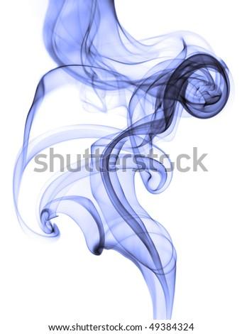 Blue smoke isolated on white background.