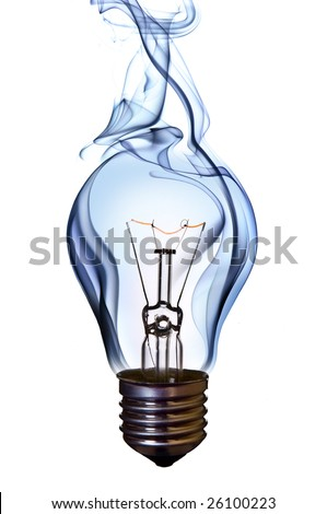 blue smoke lamp bulb art concept on white - stock photo