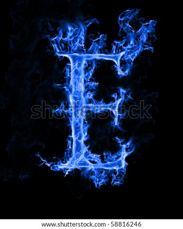 free blue fire letter e. photos | avopix