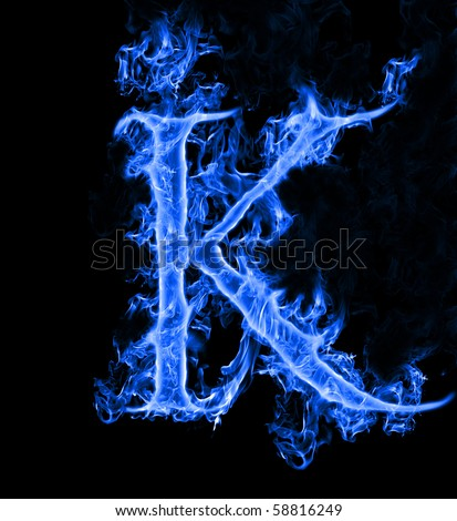 free blue fire letter k. photos | avopix