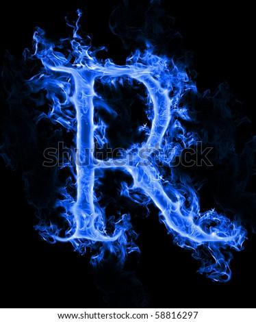 "Blue smoke letter ""R"""
