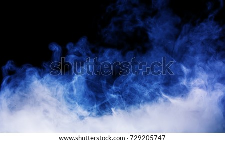 blue smoke on the black background
