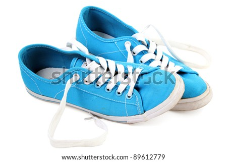 Blue sneaker on a white background