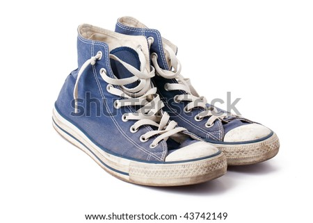 blue sneakers - stock photo