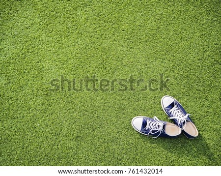 Blue sneakers on green grass. Space for editorial use. #761432014