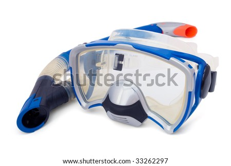 Blue snorkel and diving mask isolaned on white