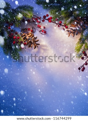 Blue snow, Christmas background, frame �¢??�¢??of fir branches