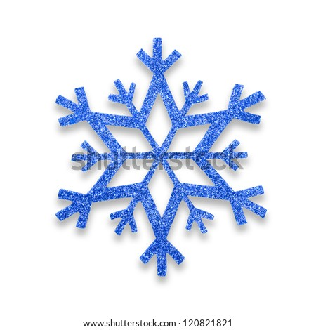 Blue snow flake Christmas tree topper. - stock photo