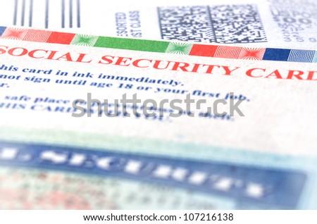 Blue social security card macro shot
