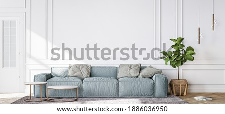 Blue sofa in contemporary living room, minimal design with empty white wall, 3d render, 3d illustration Foto stock ©