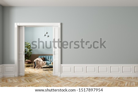 Blue sofa in living room behind the opened classic white sliding doors, interior background of modern apartmentwith empty wall. 3d rendering ストックフォト ©