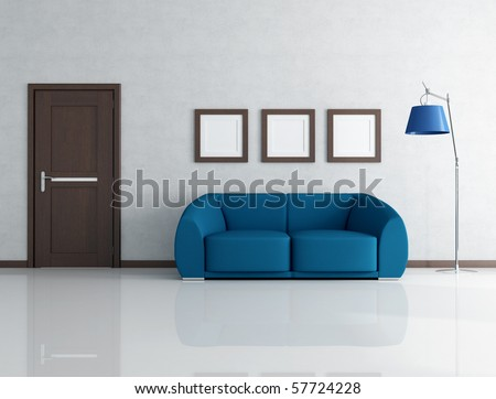 blue sofa in living room with wooden door and frame - rendering