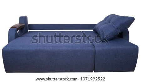 Blue sofa isolated on a white background. Blue sofa isolated on white include clipping path.                                #1071992522