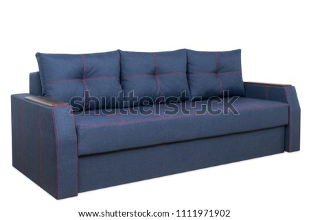 Blue sofa isolated on a white background. Brlue sofa isolated on white include clipping path. #1111971902
